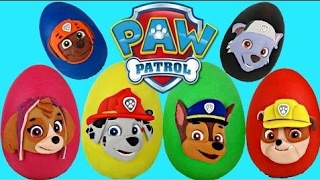 [SurpriseEggToys] PAW PATROL Nickelodeon Play Doh Surprise Eggs Toys with Chase, Marshall, Rubble /