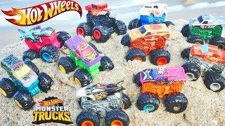 Hot Wheels Muddy Monster Trucks Treasure Hunt with NERF Fortnite Super Soaker! Mud and Sand Toys