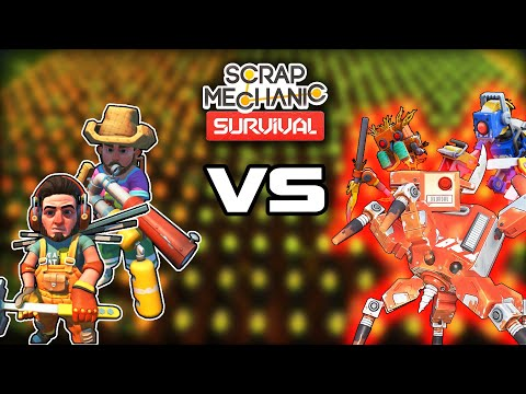 Defending 2500 Crops From Waves of Farmbots! (Scrap Mechanic Survival Gameplay)