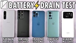 Sony Xperia 1 III vs S21 Ultra / iPhone 12 Pro Max / OnePlus 9 Pro / Mi 11 Ultra Battery DRAIN Test!