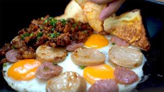 ไข่กระทะ สไตล์ตุ้ย!! | Pan Fried Egg with Toppings (ทำกินเพลินๆ) EP.08