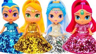 Shimmer and Shine Dress Up Making Play Doh Beautiful Dresses with Glitter for Dolls DIY