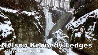A winter hike through Nelson Kennedy Ledges State Park. Cliffs, caves, narrow passageways, streams, and waterfalls!