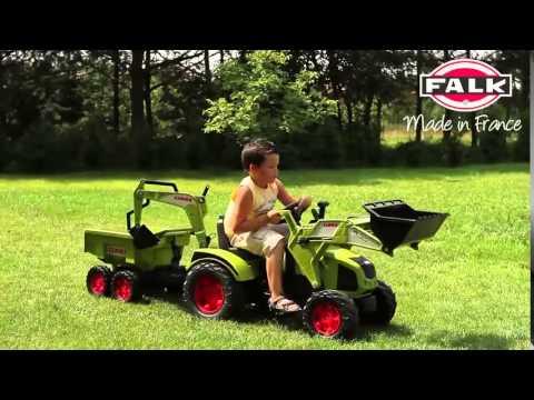 Falk Tractor a pedales axos fl120 con 2 palas y remolque en Eurekakids