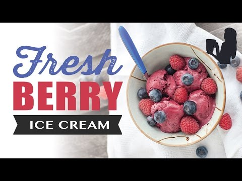 Video Fresh Berry flavored Ice Cream recipe made using a Vitamix or Blendtec commercial blender