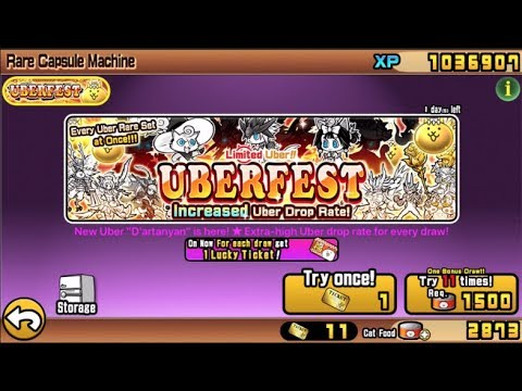 Battle Cats UBERFEST : 4 UBERS With 11 TICKETS 0_0