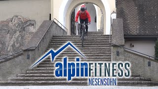 preview picture of video 'Ride Down Stairs on a Mountainbike in Rankweil at the Basilika (Bergkirche)'