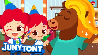 Hairdresser | Whose Hairstyle Is The Best?:) | Hair Salon | Jobs And Career Song For Kids | JunyTony
