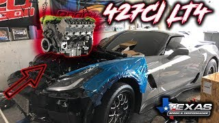 New Texas Speed 427 going in the C7 with a Powerglide Transmission and F1X ProCharger