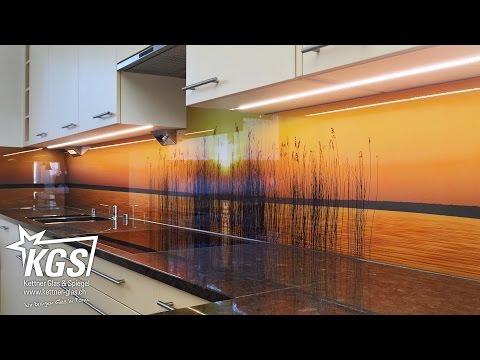 Glas-Küchenrückwand mit Sonnenuntergang-Motiv