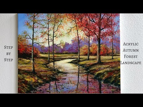 acrylic painting autumn forest step by step instructions by colorbyfeliks