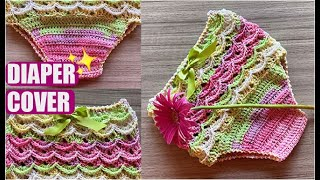 HOW TO CROCHET A BABY DIAPER COVER    - EASY AND FAST - BY LAURA CEPEDA