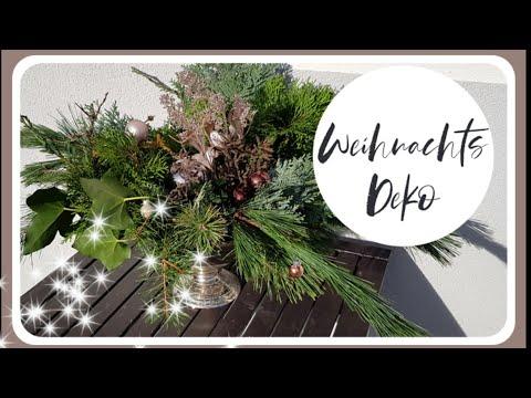 WEIHNACHTSDEKO - Adventsgesteck in silberner Schale - DIY DEKOIDEE - Weihnachten - KatisweltTV