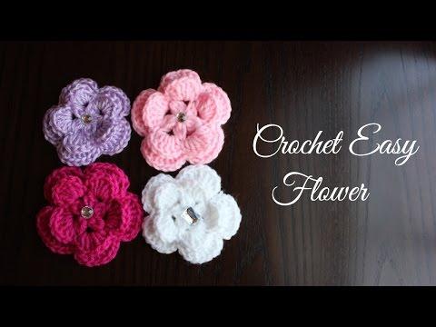 Como hacer una flor fácil a gancho o ganchillo (crochet)