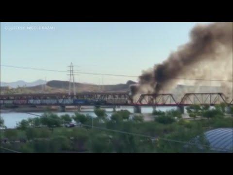 Video shows smoke, flames on Tempe Town Lake bridge after train derailment