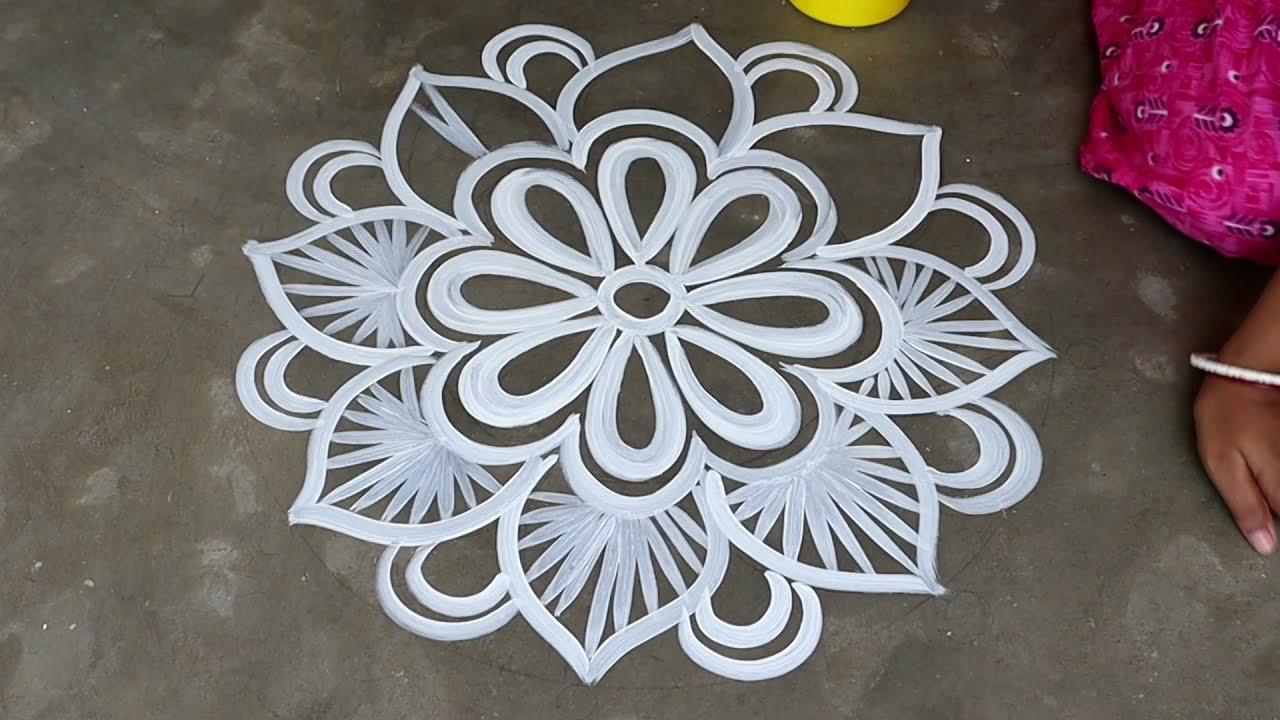laxmi puja special floor alpana rangoli by shyamali rangoli art