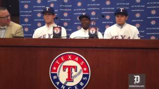 Texas Rangers 2016 draft picks Cole Ragans, Alex Speas, and Kole Enright are introduced