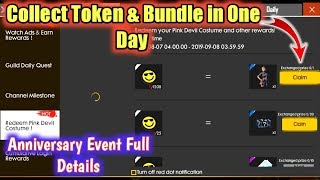 How To Collect Emote Badges & Redeem Pink Devil Costume || Free Fire New Watch Ads & Earn Event