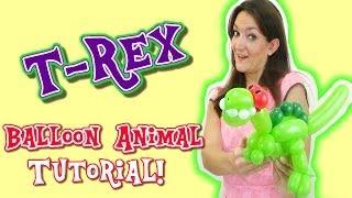 T-Rex Dinosaur Balloon Animal Tutorial! Balloon How-To's with Holly!