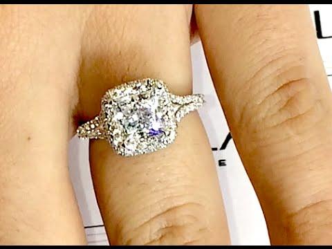 1.70 ct Princess Cut Diamond Halo Engagement Ring