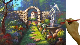Acrylic Landscape Painting In Time-lapse / Angel Statue In The Garden / JM Lisondra