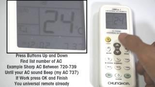 Setting Universal Remote Control AC Chunghop K 1028E setup first time