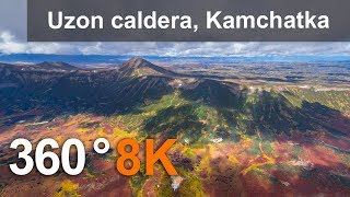 360 video. Uzon volcanic caldera, Kamchatka, Russia. 8K aerial video
