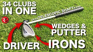Playing golf with ONE ADJUSTABLE CLUB (34 clubs in 1)