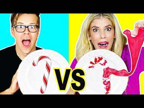 CANDY VS. SLIME HOLIDAY CHALLENGE!! (DIY Fluffy Slime, edible slime, no borax)