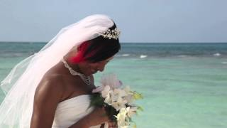 Bride With Wedding Bouquet On Silver Sands Beach Jamaica
