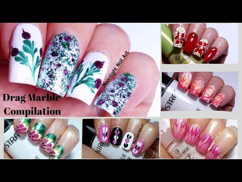 Download Drag Dry Marble Floral Nail Art Design Tutorial Video 3gp