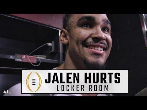 Jalen Hurts reacts to Alabama championship, Tua Tagovailoa leading win
