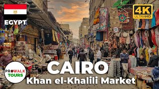 Cairos Khan El-Khalili Walking Tour (4K/60fps)