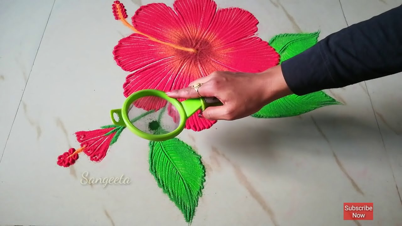 easy hibiscus flower rangoli design by sangeeta