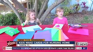Kids make cards for nursing homes