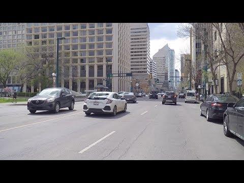 Downtown Edmonton Alberta Canada. Driving Tour in City Centre.