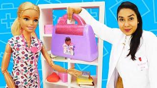 Puppen Video auf Deutsch. Barbie möchte Ärztin werden. Spielzeug Video mit Doktor Aua