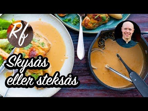 Hur du lagar en enkel skysås på steksky från det du lagat exempelvis från kyckling eller stek i ugnen. >