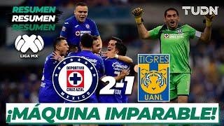 La máquina suma su tercera victoria consecutiva y derrota a los Tigres en la cancha del Estadio Azteca.