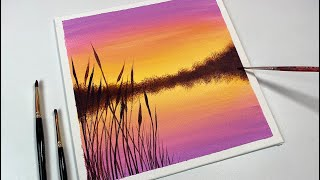 Acrylic Painting for Beginners / Yellow to Purple Sunset / Easy Acrylic Painting on Canvas