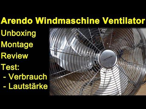 Arendo Windmaschine Ventilator 45cm AEG - Unboxing, Montage, Review, Test Lautstärke & Verbrauch