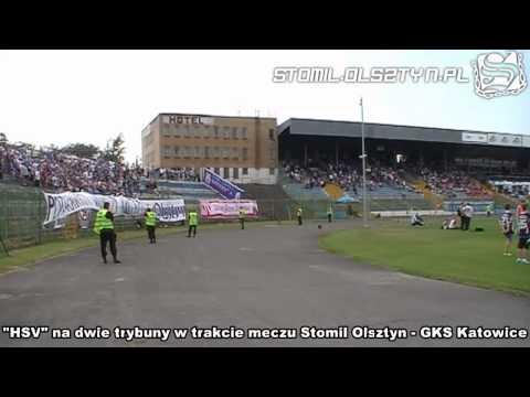 Doping na dwie trybuny w trakcie meczu Stomil Olsztyn - GKS Katowice