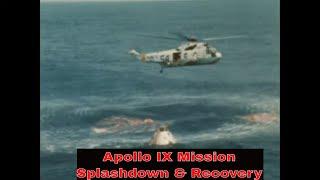 NASA APOLLO IX MISSION   SPLASHDOWN & CAPSULE RECOVERY FOOTAGE  USS GUADALCANAL  SEA KING 17584