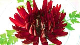 Украшение блюд  ❃ Хризантема из луковицы ❃ .