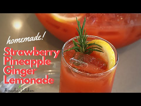 Refreshing Strawberry Pineapple Ginger Lemonade drink  with hint of  rosemary