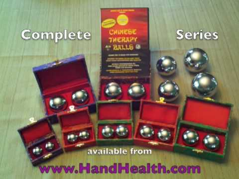 Video Nine Sizes of Chinese Therapy Balls Demonstrated 25mm - 73mm