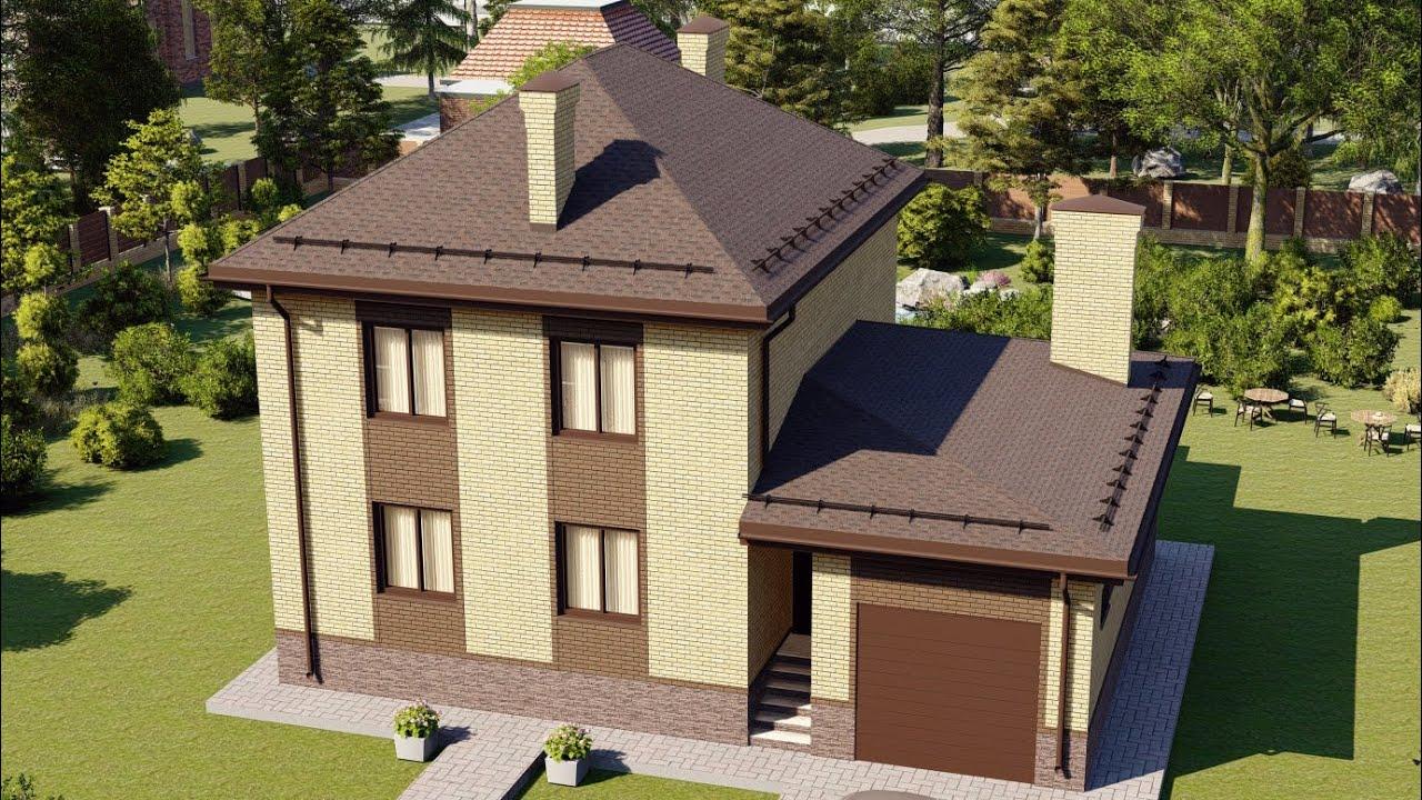 Дом из газобетона с гаражом в 2 этажа 153 м2