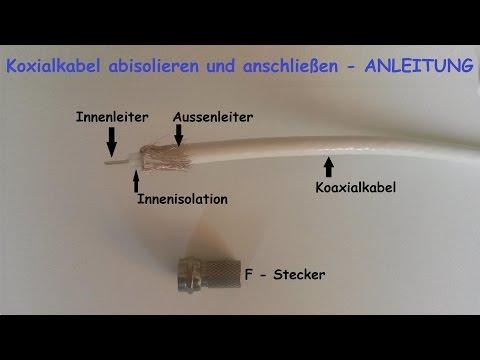 F-Stecker auf Koaxialkabel  richtig montieren – F Stecker auf Antennenkabel anbringen / anschließen