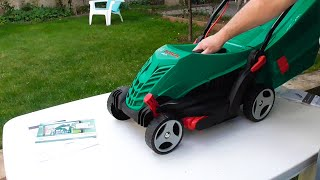 Unboxing assembling and testing BOSCH ARM 34 1300W Lawnmower - Bob The Tool Man