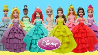 Play Doh Dresses 9 Disney Princesses Magic Clip Elsa Anna Ariel Belle Rapunzel